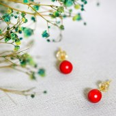 慈华臻品 艾灸石 稀土 磁能量石 1对耳钉 红色 蓝色 黑色 7mm