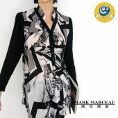 玛克玛索拼色长款褶皱雪纺衬衫P1451