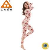 珠珠361-2 女士  粉色印花 秋衣秋裤 保暖 内衣 打底 套装  全国包邮