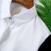 新款燕尾系带收腰简约韩版宽松大码衬衣