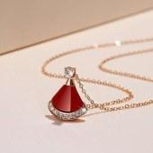 s925银项链小红裙