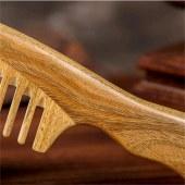 檀木宽细齿大号柄梳
