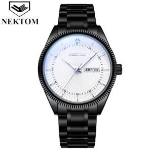 耐顿双日历实心钢带男士手表A8208G