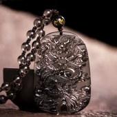 三泰珠宝 开光冰种黑曜石龙牌吊坠