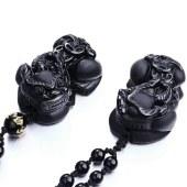 三泰珠宝 开光天然黑曜石霸王貔貅吊坠