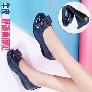 真皮女鞋平底女鞋37061