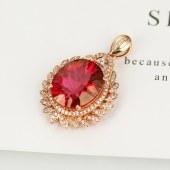 九福晶典珠宝 18K金钻石豪华镶嵌红托帕石吊坠