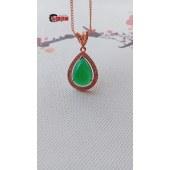 三泰珠宝天然冰翠绿A级玉髓项链