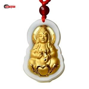 三泰珠宝和田玉金镶玉观音菩萨