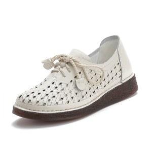 头层牛皮新款民族风妈妈鞋3016