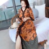 时尚V领喇叭袖套头桑蚕丝裙