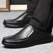 赤狐中老年头层牛皮休闲鞋7601