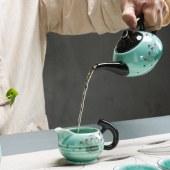 蓝青瓷荷花茶具