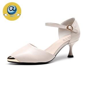 吉奥莱头层牛皮细跟女鞋透气浅口高跟女单鞋D2265