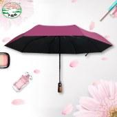 60CM8骨纯色黑胶全自动雨伞木柄加防晒大晴雨两用伞
