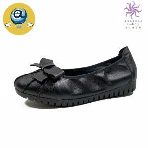 吉奥莱真皮女单鞋圆头平底休闲妈妈鞋特大码D8870