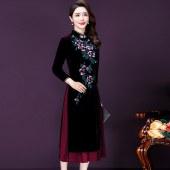 复古旗袍长款金丝绒妈妈装衣裙8350