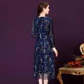 长袖重工刺绣手工钉珠礼服连衣裙8352