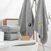 意莱维 竹炭刺绣毛巾浴巾三件套