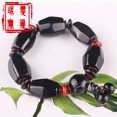天然黑玛瑙橄榄珠手链