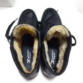真皮加绒平底妈妈棉靴