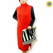 玛克玛索K2006全羊毛高领针织背心裙