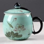 蓝青瓷荷花玲珑水杯