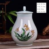 景德镇陶瓷福桶浮雕花瓶