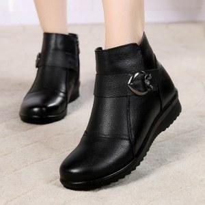 赤狐牛皮妈妈保暖棉短靴