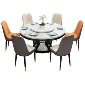 大理石实木餐桌+椅((组合)