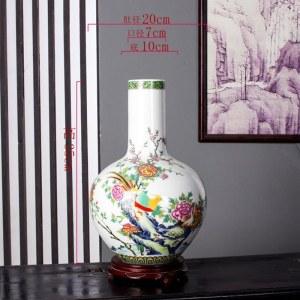景德镇陶瓷《富贵荣华》花鸟天球