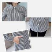 衣纯华菲  竖条纹韩范中长打底衬衫女有加绒款6809