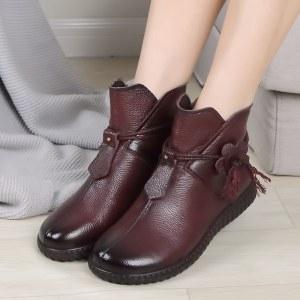 真皮平底民族风短筒女靴