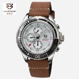 妙时空 炫酷六针24小时双时区男士进口机芯皮带腕表MS72