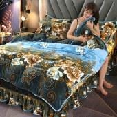 床裙款牛奶金貂绒四件套