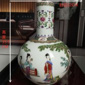 景德镇重工珐琅彩(仕女图)天球瓶