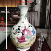 景德镇重工手绘珐琅彩(延年益寿)童子赏瓶