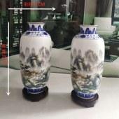 景德镇精品粉彩(富江春韻)山水冬瓜瓶一对