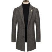 冬季风衣男士中款韩版羊毛加棉呢子大衣FSCPM818