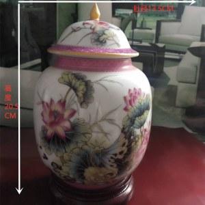 景德镇精品珐琅彩(荷香清韻)盖罐瓶