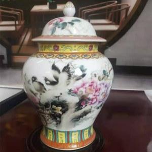 景德镇重工珐琅彩(花开富贵)将军瓶