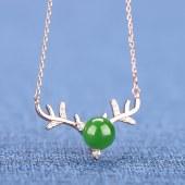 精品珠宝925银镶嵌一路有你项链