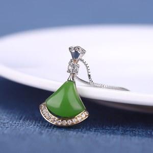 精品珠宝925银碧玉吊坠项链