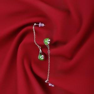精品珠宝925银和田玉碧玉耳环