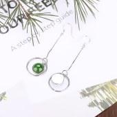 精品珠宝925银和田玉碧玉长款耳环耳钉