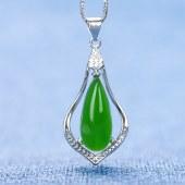 精品珠宝 925银镶嵌和田碧玉项链吊坠