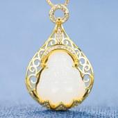 精品珠宝 925银古法金镶嵌和田碧玉项链吊坠