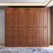胡桃木实木衣柜 对开门六门五门四门衣柜
