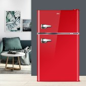 BCD-108家用办公节能炫酷双门冷藏冷冻小型复古冰箱