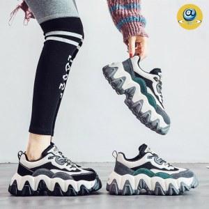 ins时尚老爹潮鞋女秋冬季新款网红厚底增高加绒欧洲站运动鞋